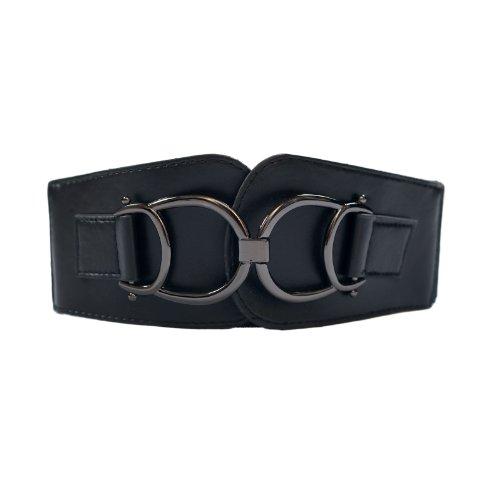 eVogues Plus Size Leatherette Elastic Belt Black - One Size Plus
