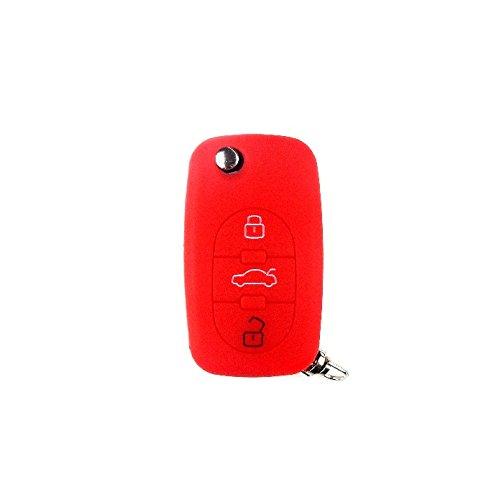 Bright Parts® Rosso silicone Portachiavi Custodia Cover per Audi chiave con 3tasti Brightparts®