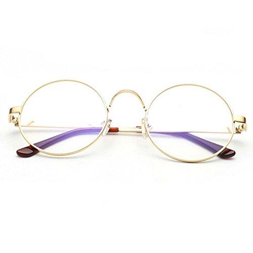 W-Q Fashion Metal Frame Transparent Clear Lens Anti Blue Light Round Student Glasses(C3)