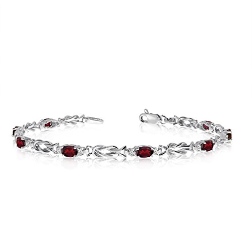 - Jewels By Lux 14K White Gold Oval Garnet and Diamond Bracelet