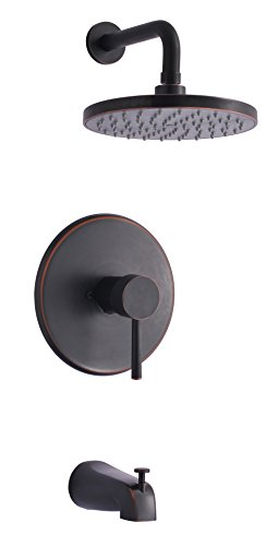 Derengge TF-0093-ORB Single Handle Tub & Shower Faucet, Pressure Balanced Valve, Anti-Scald, with 8