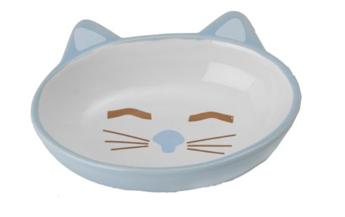 Petrageous Stoneware Pet Bowls Here Kitty, 5-1/2-Inch Oval, 5.3-Ounce, Blue