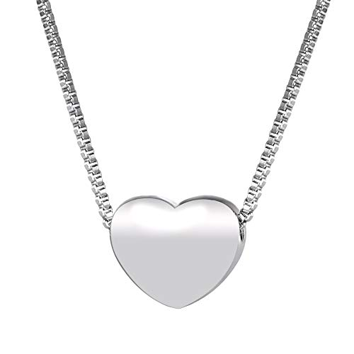 (U7 Cute Heart with Stainless Steel Italian Box Chain Pendant Necklace, 17-19 Inch)