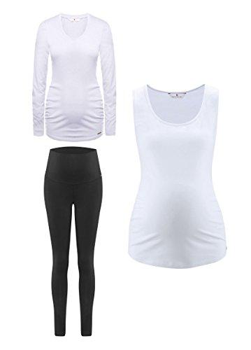 Bellybutton Mama Geschenk Set, Pijama Premamá para Mujer, Weiß (Snow White|White 1050 blanco (snow white|white 1050)