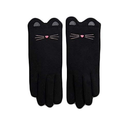 - RUOAP Thermal Insulation Mittens, Deerskin Suede Leather Palm Gloves Warm Lined Thick Stretchy,Black