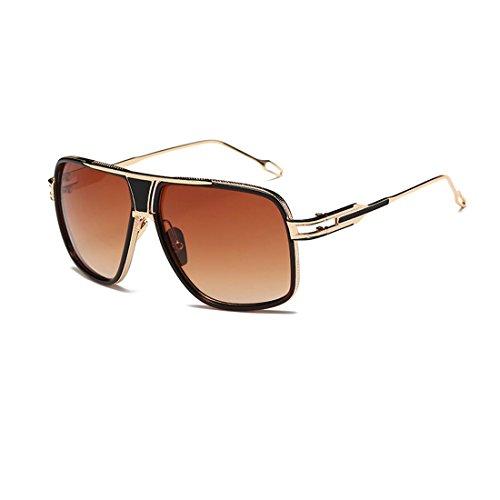 LIKEOY Fashion Classic Aviator Sunglasses For Men,Gold Metal Frame with REVO Lens - Review Revo Sunglasses