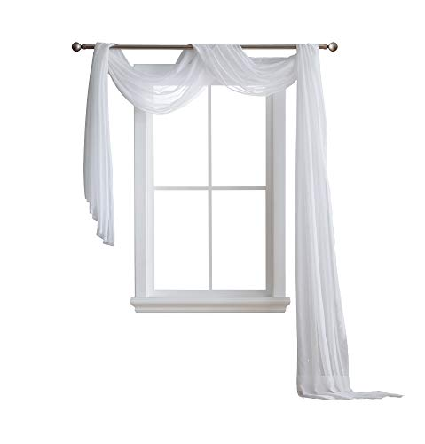 ASATEX - Semi Sheer Luxury Window Scarf - Stylish Decor Window Treatments - Provide Privacy - Perfect Addition for Curtains Drapes - Soft Durable Polyester (Scarf 54x216, - Sheer Drapery Fabric Semi