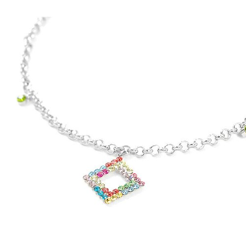 Glamorousky Elegant Square charms and Small Bell Anklet with Multi-color Austrian Element Crystals (1828)