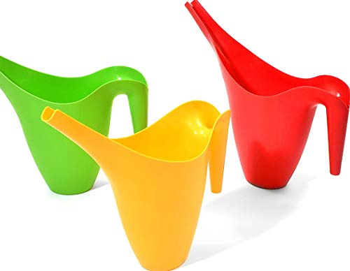 - Ashman Set of 3 Watering Can, Indoor and Outdoor Use, Red, Green, Yellow,  2 Liter Capacity