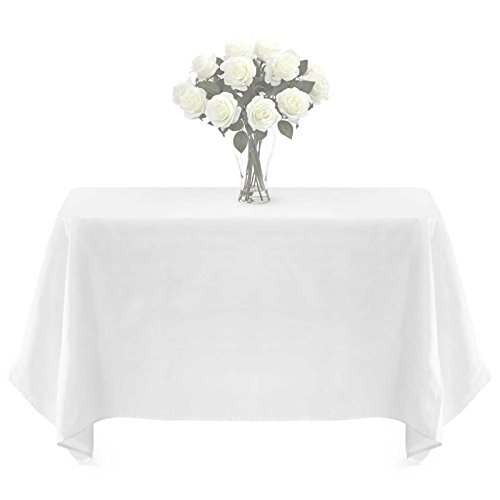 Lann's Linens - PREMIUM WEIGHT Polyester Tablecloth - for Wedding, Restaurant or Banquet use - 90 in. x 156 in. , White