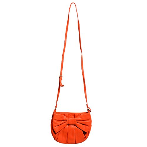 Red Valentino Women's Orange 100% Leather Bow Decorated Shoulder Bag (Bow Valentino Bag)
