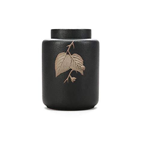 (Shengshihuizhong Pet Urn, Handmade Ceramic Seal Pet Casket, Small Animal Urn Jar, Kitten Puppies Animal Jar, Mini Holly Pot, Lite urn cans, (Color : Black))