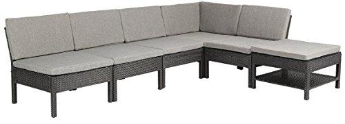 Baner Garden (K55) 6 Pieces Outdoor Furniture Complete Patio Wicker Rattan Garden Corner Sofa Couch Set, Full, Black (Banner Furniture Outdoor)