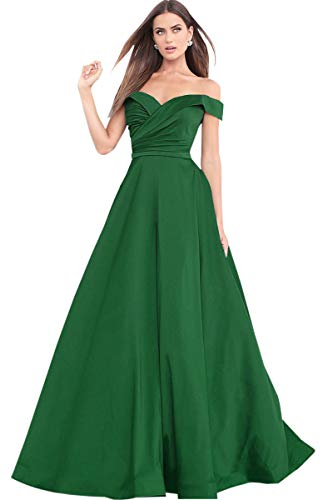 c8ffd0ad6bd6 Women's A Line Off The Shoulder Drapped Satin Prom Dress Long Formal  Evening Gown. by zhongde
