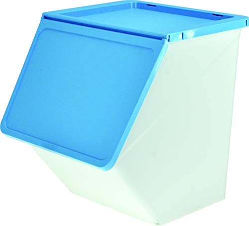 livinbox Storage Bins PP Plastic Pelican Stackable Cubes Containers Box with Hinged Lids for Kids Toys,38L,MHB-38 - Blue