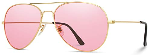 Classic Aviator Style Metal Frame Sunglasses Colored Lens (Pink Lens, ()