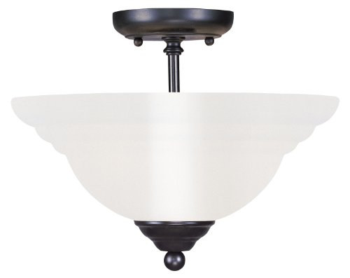 Livex Lighting 4259-04 Flush Mount with White Alabaster Glass Shades, Black - Black Finish White Alabaster Glass