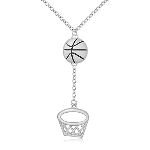 MANZHEN Personalized Gold Silver Basketball Hoop Sports Charm Pendant Necklace Jewelry for Women(silver) Ladies Personalized Basketball