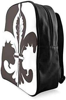 Black And White Illustration Of Fleur De Lis Travel Daypack Girls Bookbags Teen School Bag Print Zipper Students Unisex Adult Teens Gift