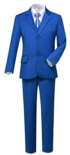 (Boys Suit Ring Bearer Dress Clothes with Blazer Vest Pants Shirt and Tie Royal Blue Size)
