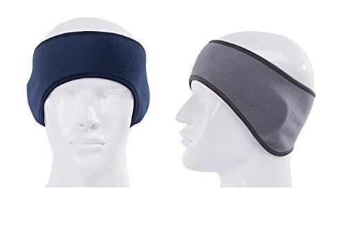 GoYonder Fleece Thermal Headbands Ear Warmers Navy Gray