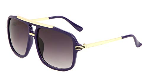 Evidence Metal & Plastic Hip Hop Flat Top Aviator Sunglasses (Purple & Gold Frame, Black ()