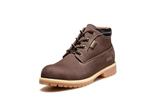 Jacata Men's Low-Cut Work or Mid-Cut Casual or Heavy Duty Leather Boots with Steel Toe Option/Driving Loafer/Walking Mesh Sneaker/Vegan Moccasin Water Resistant Shoes (9, Brown-Midcut HD)