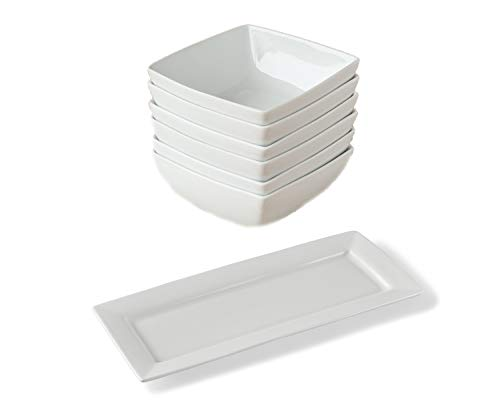 Better Homes & Gardens Square Bowls|White|Set of 6 bundle with Better Homes & Gardens Rectangle Porcelain|White Platter - Garden Coupe Cereal Bowl