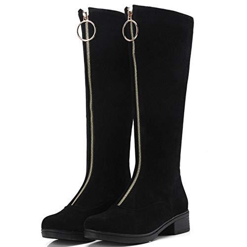 Slouchy Zipper Chaussures Décontractée Plates Chaudes Boots Élégant Taoffen Noir Bottes Femmes nwq60zanxZ