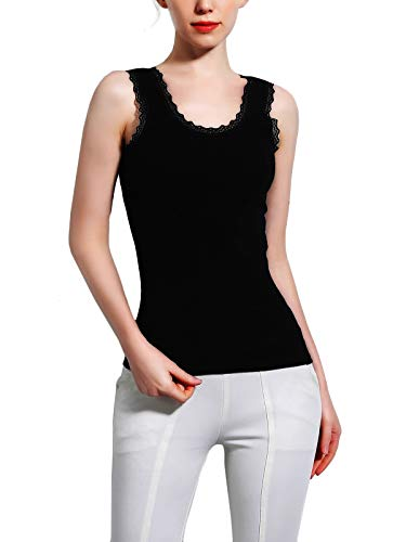 FasiCat Women's Stretch Layering Tank Top Camisole for Women Lace-Trimmed Stretch Cotton Racerback Sleeveless Shirt Basic (L, Black)