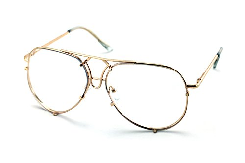 V.W.E. New Non-Prescription Premium Aviator Clear Lens Glasses Gold Silver Black - Glasses Men Frame For Large