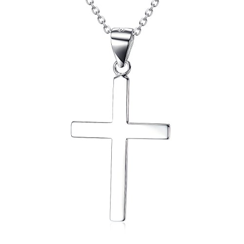 14K White Gold Plated Sterling Silver Cross Pendant Necklace for Women Girls Boys Children (Sterling Silver Gold Plated Pendant)