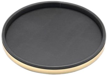 Kraftware Sophisticates Black with Polished Gold Deluxe Tray, 14-Inch