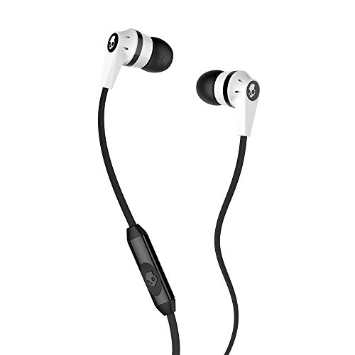 Skullcandy Ink'd 2.0 Wired Earbuds with in-Line Microphone and Remote, Tangle-Reducing Flat Cable, Noise-Isolating Supreme Sound with Powerful Bass and Precision Highs, White/Black (Best Skullcandy Headphones For Bass)
