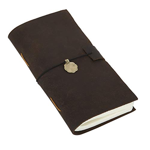 Leather Journal Writing Notebook - Antique Handmade Personal Diary Travel Sketchbook Daily Notepad for Men and Women, Unline Blank Paper, 8 x 4.5 Inches (Lucky Slip Satchel)