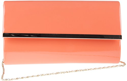 H&G Ladies Patent Glossy Fashion Clutch  Evening Bag (Flesh) Coral