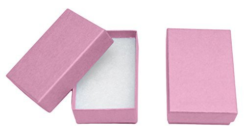 """Novel Box MADE IN USA Jewelry Gift Box in Pink Kraft With Removable Cotton Pad 2.5X1.8X1"""" (Pack of 25) + Custom NB Pouch"""