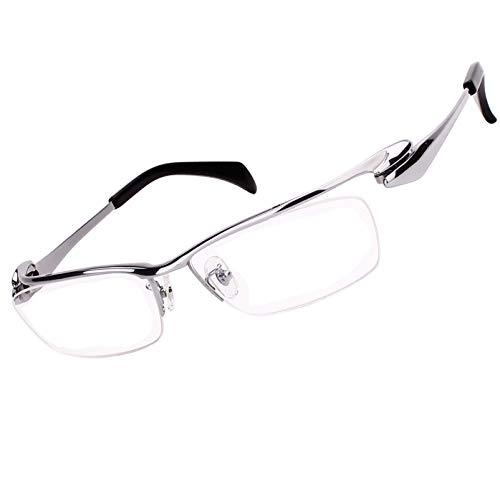 Agstum Customize Prescription Glasses - Pure Titanium Half Rimless Business Glasses Frame Eyeglasses Clear Lens (Ag1153-Silver, Customized Prescription ()