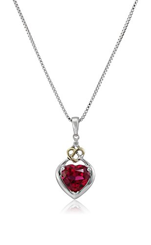 Love Knot Sterling Silver and 14k Yellow Gold Diamond and Heart-Shaped Created Ruby Pendant Necklace, 18