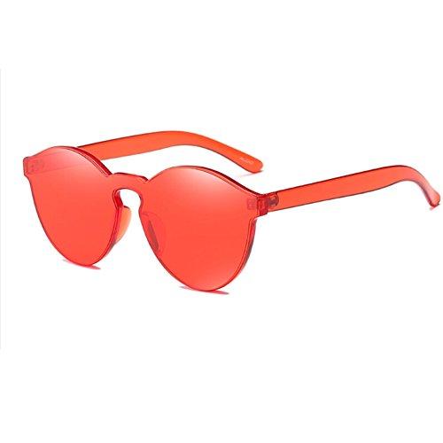 Lunettes Retro Super Monture Transparent coloré cadre Rouge Wonderfulhony Rond sans de soleil 8w60T