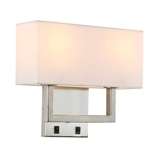 Permo 2-Lights Wall Sconce Light Fixture Black Finish with White Textile Shades and 2pcs On/Off Switch Button Living Room Bedside Nightstand Light (Brushed)