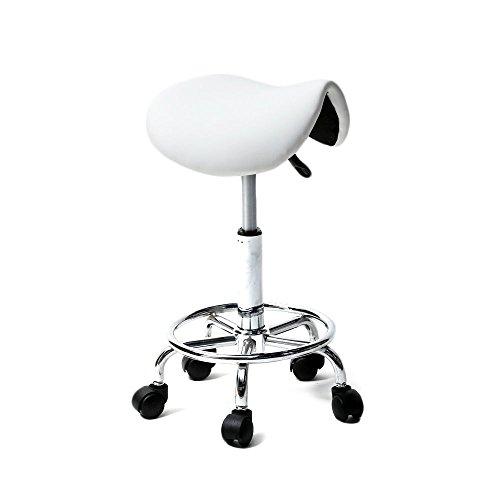Manicure Spa Stand - Rolling Hydraulic Ergonomic Saddle Seat Bar Salon Barber Chair Hair Styling Beauty Spa Shampoo Hair Salon Spa Saddle Stool Pedicure / Manicure Nail Technician Massage Equipment | White