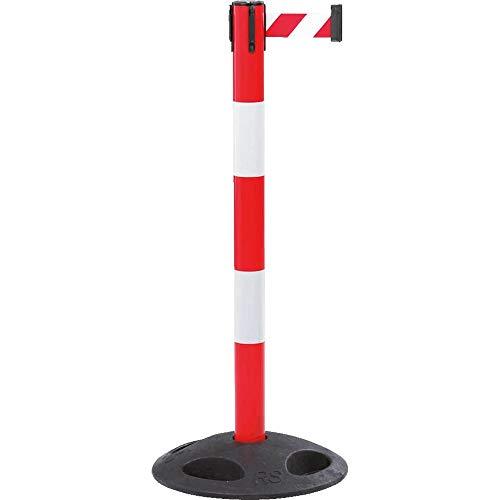 RS-GUIDESYSTEMS GLAR-25-D Gurtpfosten, außen, rot Reflexstreifen, weiß/rot schraff, 4 m aus Kunststoff