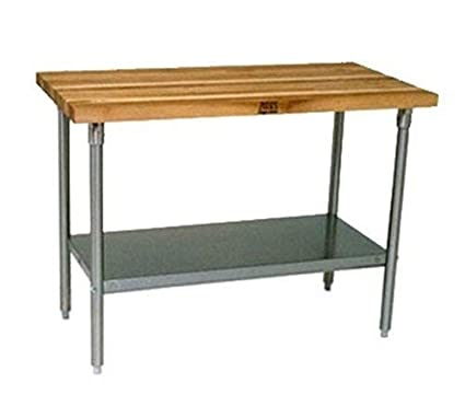 120 Long x 36 Wide x 1-1//2 Thick John Boos JNS21 Maple Top Work Table with Galvanized Steel Base and Adjustable Galvanized Lower Shelf