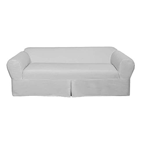 Two Piece White Home Decor Slipcover, Relaxed Fit Sofa Cover, 100% Cotton Material Slipcover for Living Room, Strong and Durable, Ideal for High-Traffic - Rib Loveseat Slipcover