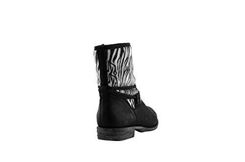 JJ Footwear Damen Stiefeletten Leder Beijing Weit Schwarz/Weiss Wash/Zebra 40