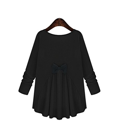 Robe Top shirt Nœuds Acvip Maternité Lâche Femme Avec T Blouse Longue Manche Noir Papillon wWEYPpqYU