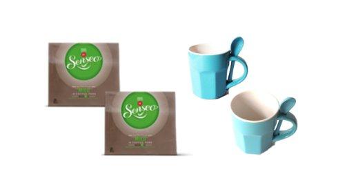 2x Senseo Kaffeepads Mild, 18 Pads + 1 Keramiktassen mit Keramiklöffel