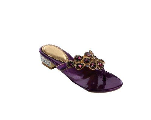 Abby Womens Comfort Flip Flops Fashion Leather Low Heel Sandals Purple x4b4Vz2lC
