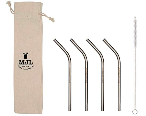 (Short Thin Bent Stainless Steel Straws for Cocktail Glasses, Kids, Small Cups, or Half Pint Mason Jars (4 Pack + Cleaning Brush + Cloth Bag))